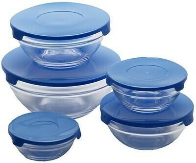 Renberg Glass Storage Trays Glas-Vorratsdosen - 10 Tabletts + 10 Deckel - blau (ähnlich wie Tupperware)