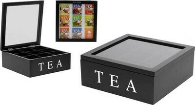 Teekiste / Teebox 9 Fächer - schwarz