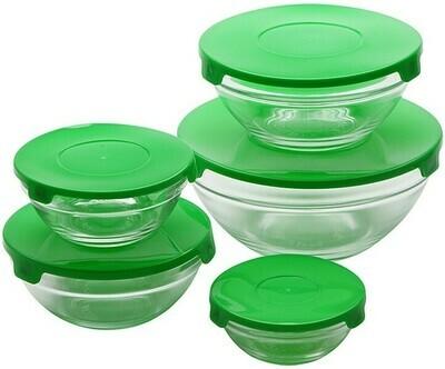 Renberg Glass Storage Trays Glas-Vorratsdosen - 10 Tabletts + 10 Deckel - grün (ähnlich wie Tupperware)