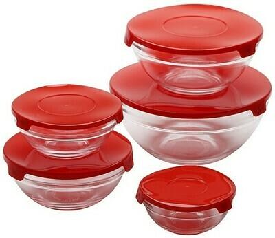 Renberg Glass Storage Trays Glas-Vorratsdosen - 10 Tabletts + 10 Deckel - rot (ähnlich wie Tupperware)