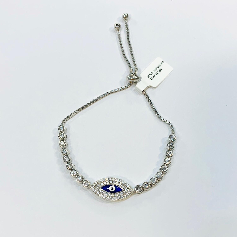 Blue Evil Eye Pull Chain Bracelet