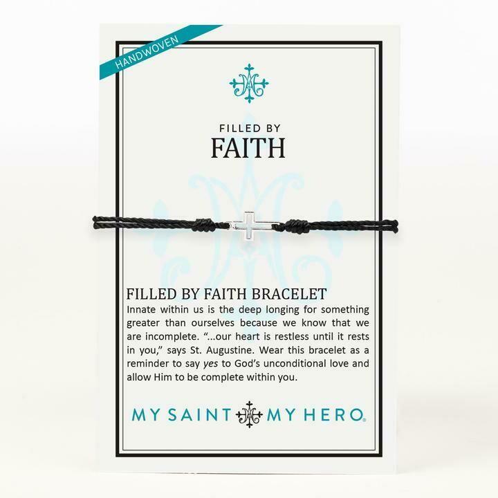 Filled By Faith Bracelet (Silver/Black)