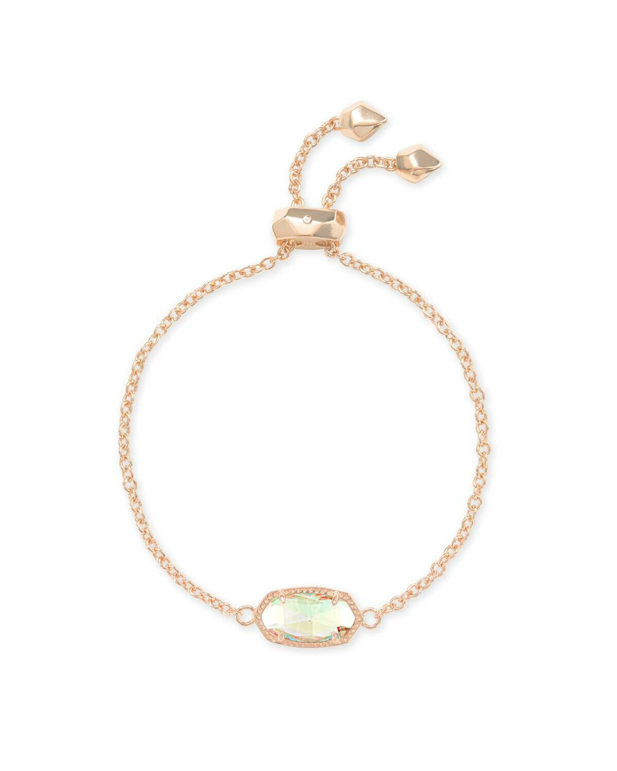 Kendra Scott Elaina Rose Gold Adjustable Chain Bracelet In Dichroic Glass