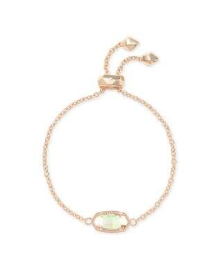 Kendra Scott Elaina Rose Gold Adjustable Chain Bracelet In Dichroic Glass