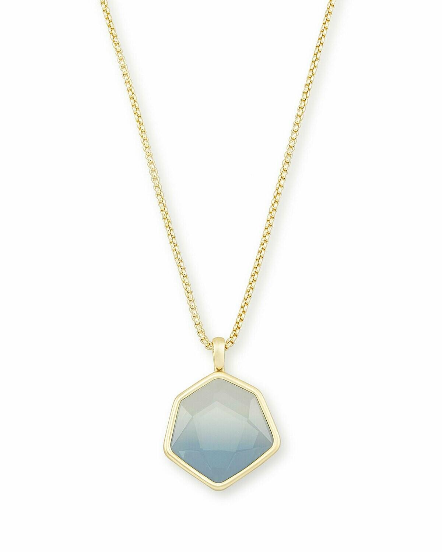Kendra Scott Vanessa Gold Long Pendant Necklace In Steel Gray Ombre