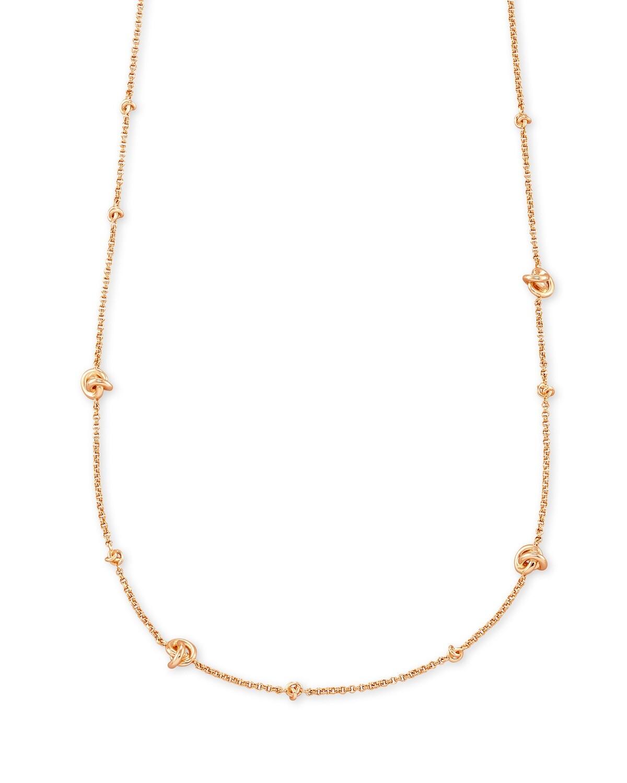 Kendra Scott Presleigh Love Knot Adjustable Necklace In Rose Gold