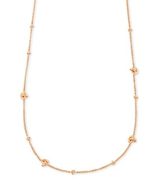 Kendra Scott Presleigh Love Knot Adjustable Necklace In Rose Gold