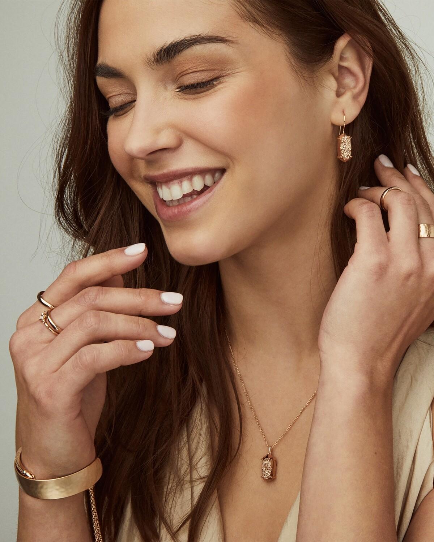 Kendra Scott Harrison Rose Gold Pendant Necklace In Rose Gold Drusy