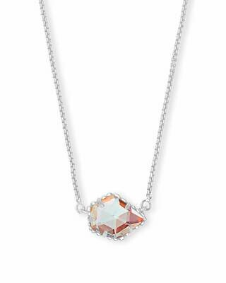 Kendra Scott Tess Silver Pendant Necklace In Dichroic Glass