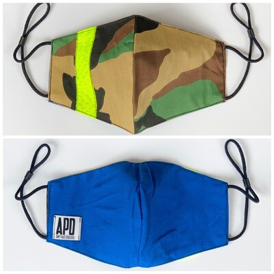 APD Camo/Blue Reversible Face Mask