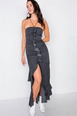 Black Halter Top Polkadot Maxi Dress