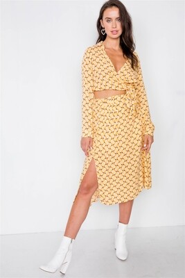 Mustard Geo Print Wrap Crop Top and Pleated Midi Skirt Set
