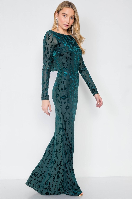 Emerald Green Floral Print Backless Evening Maxi Dress