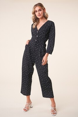 Black Heart Print Long Sleeve Button Up Jumpsuit