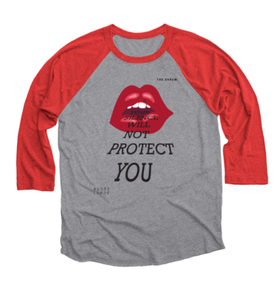 Red and Premium Heather #SpeakOut Campaign 3/4 Baseball Tee