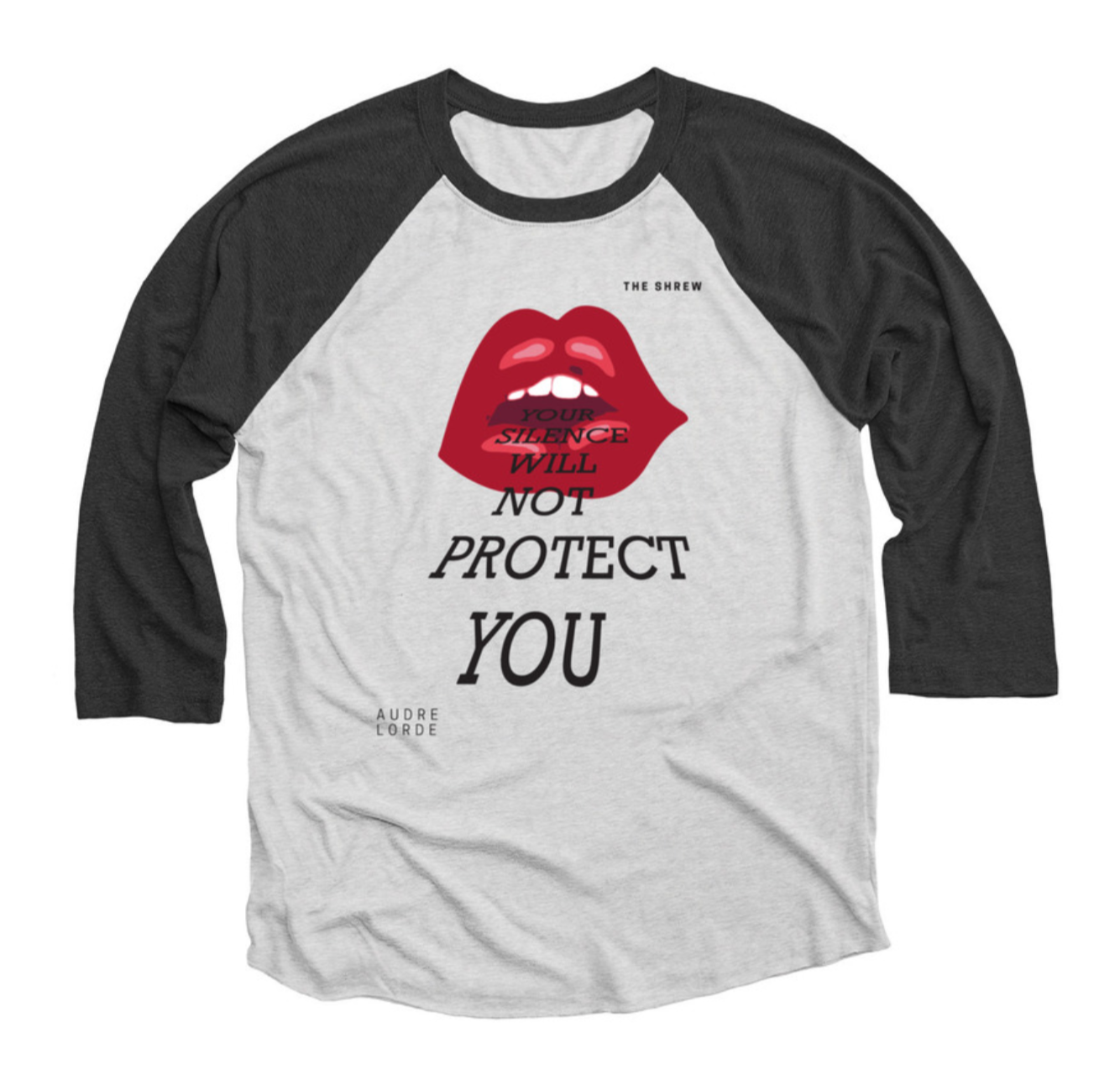 Black and Heather White #SpeakOut Campaign 3/4 Baseball Tee