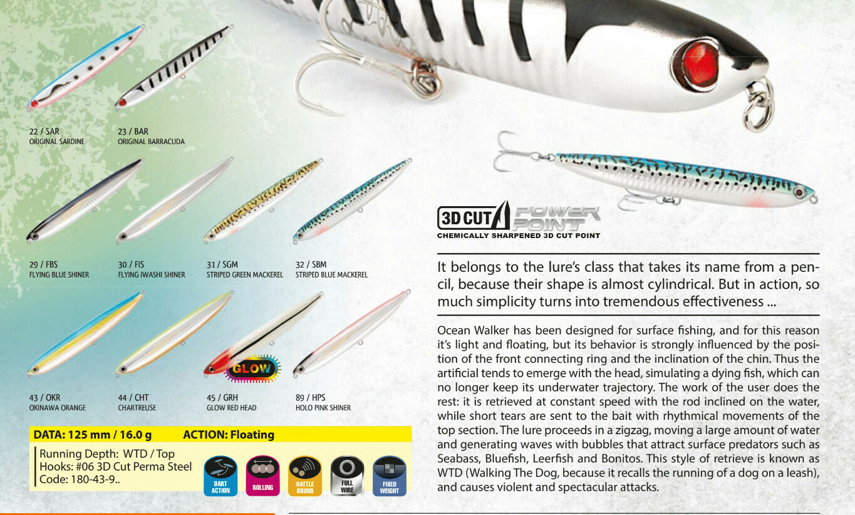 Rapture Ocean Walker Lure 125mm 16g Pencil wtd lure for bass