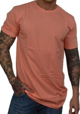 T-Shirt Uomo con girocollo e manica corta, a tinta unita color salmone - T-Shirt Basic Salmone