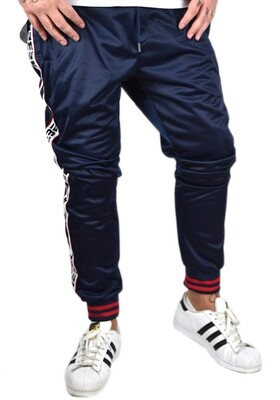 Pantalone in tessuto acetato colore blu, colore nero con banda laterale Rebel - SweatPants Rebel