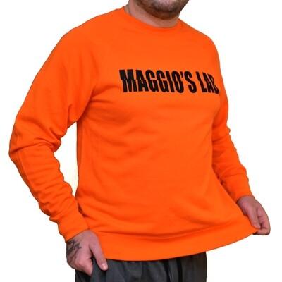 Felpa Uomo garzata manica lunga colore arancio Felpa Mirroed Orange