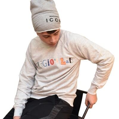 Felpa Uomo garzata manica lunga colore grigio chiaro - Felpa Patch Maggio's Clear Crewneck