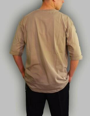 T-shirt Uomo girocollo tinta unita color chaki - T-Shirt Basic Chaki