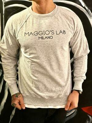 Felpa garzata uomo grigio chiaro manica lunga brendizzata - Felpa Maggio's Milano Crewneck