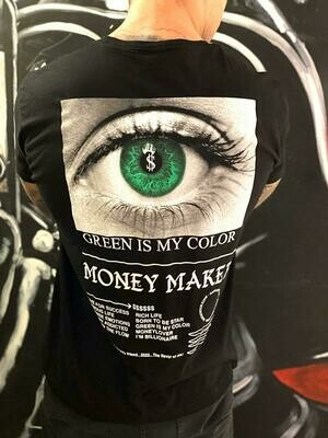 T-Shirt  Uomo in cotone manica corta con stampa artisica colore nero - T-Shirt Money Maker Black