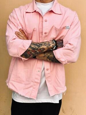 Camicia in cotone colore rosa chiusura con bottoni -  Denim Rose