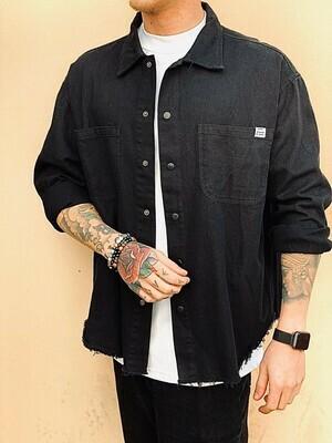 Camicia in cotone colore nero chiusura bottoni - Denim Black