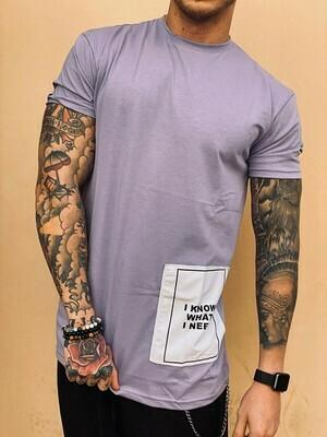 T-shirt in cotone con riquadro colore viola - T-Shirt Violet