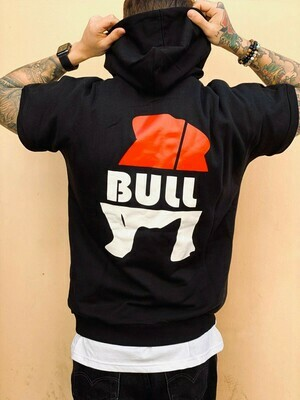 Smanicato con cappuccio in cotone stampa brendizzata - Short Sleeved Bull