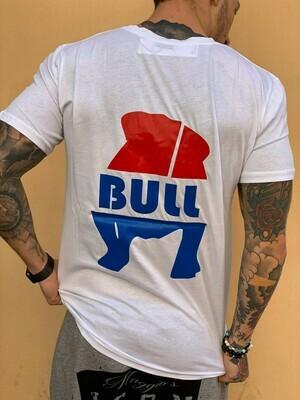 T- Shirt Uomo con manica corta, tasca e stampa brendizzata colore bianco - T-Shirt Bull White