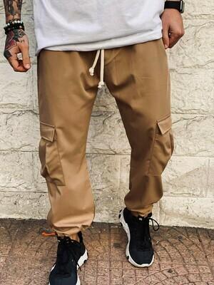 Pantalone Cargo in tessuto elastico perfetta vestibilità color senape