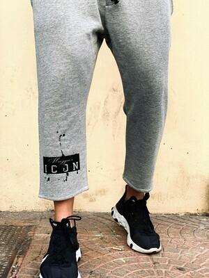 Pantalone garzato elasticizzato grigio chiaro - SweatPants Icon