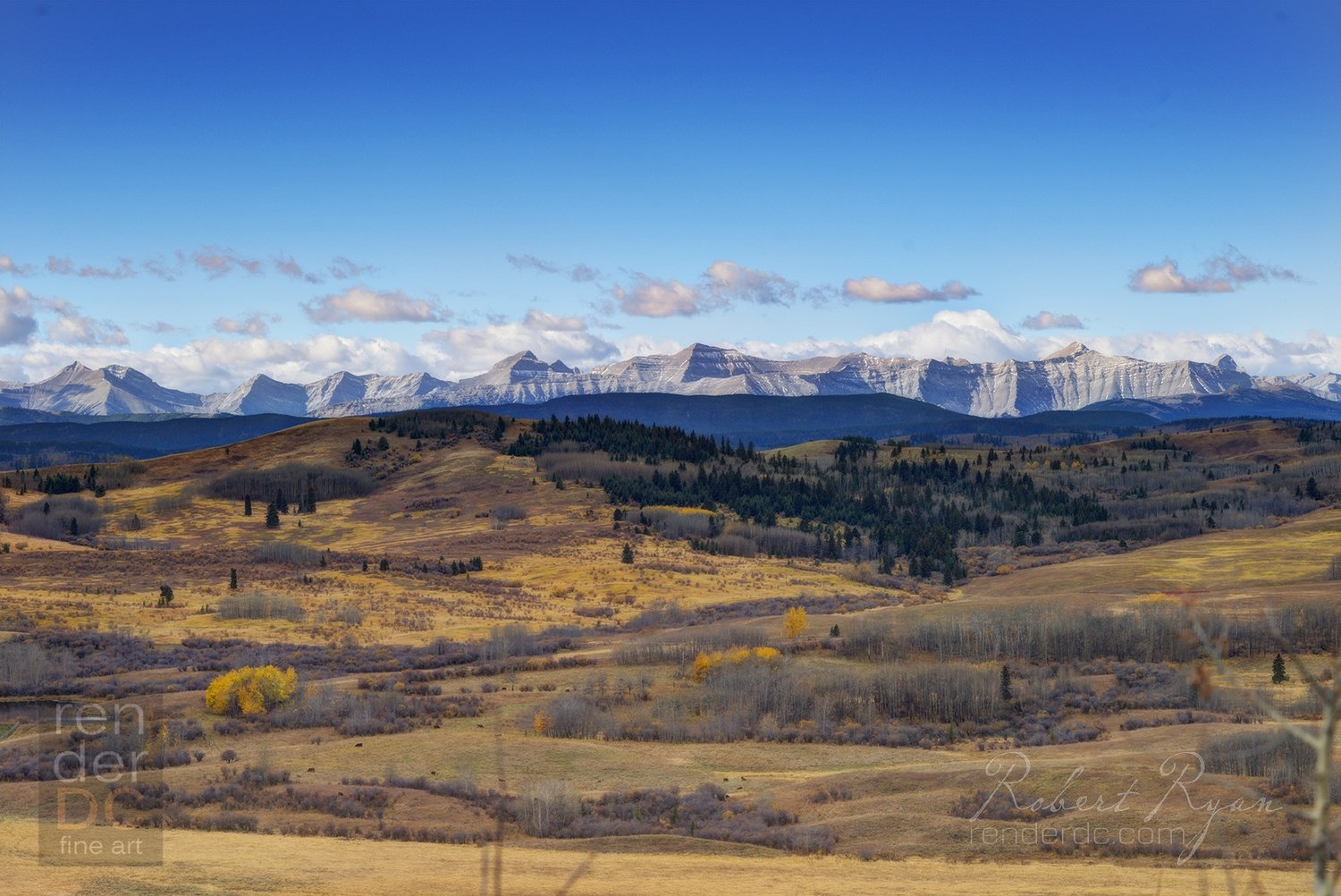 Fall Turner Valley with Rockies