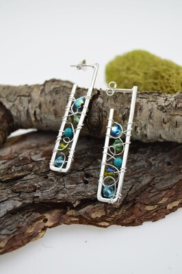 Sterling Silver Linear Post Earrings with Wire Woven Crystals and Gems