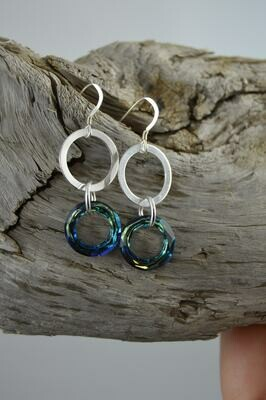 Swarovski Crystal Cosmic Ring Earrings - Sterling Silver (matching necklace available)