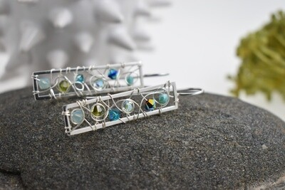 Linear Wire-Woven Silver Earrings with Swarovski Crystal Accents (necklace available)