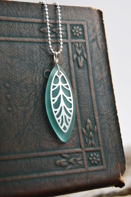Seaglass Silver Necklace with Modern Leaf (matching pieces available)