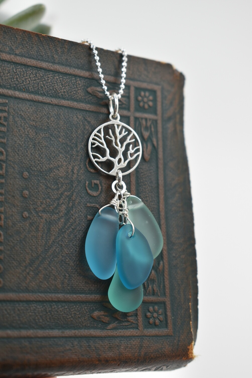 Seaglass Necklace With Silver Coral Accent (matching earrings available)