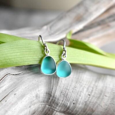Seaglass Silver Earrings