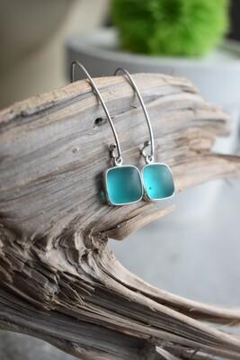 Seaglass & Silver Linear Earrings
