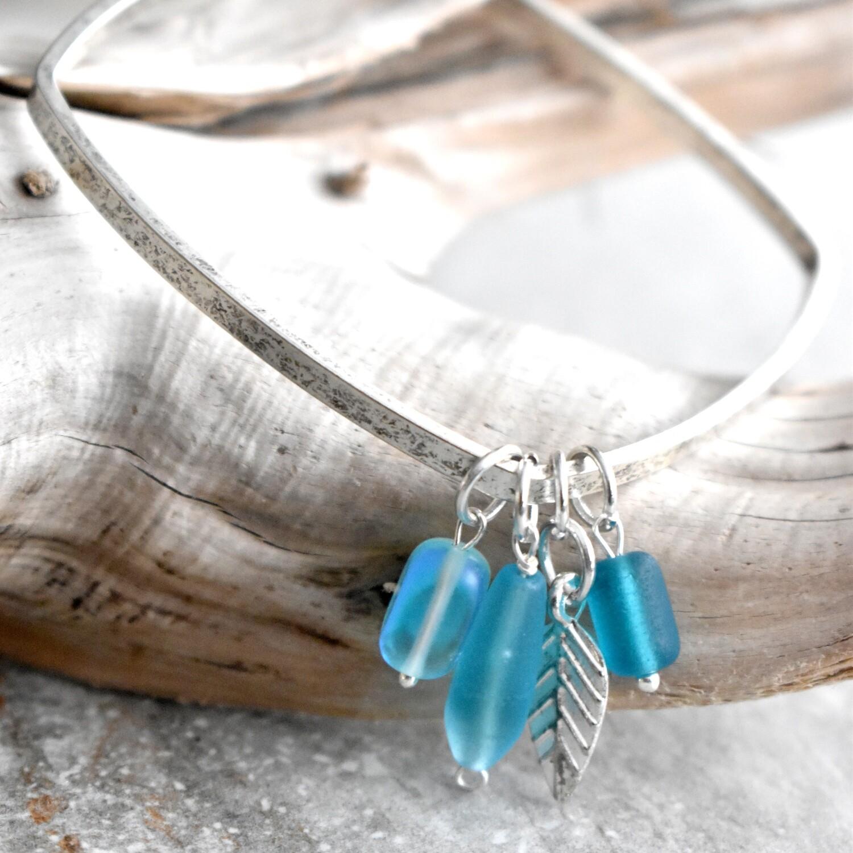 Seaglass Charm Square Bangle Bracelet