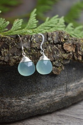Silver Wire Wrapped Earrings with Aqua Chalcedony Gemstone Drops (4 colours available)