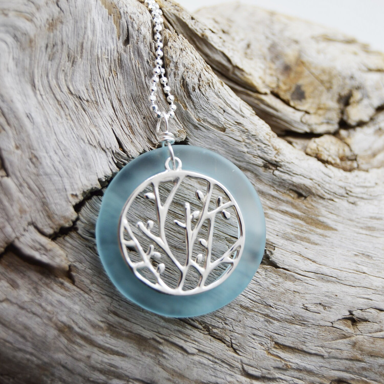 Seaglass and Silver Branch Necklace