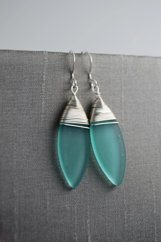 Seaglass Silver Leaf Earrings