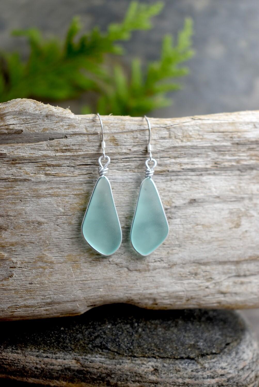 Modern Silver Bezel Seaglass Earrings