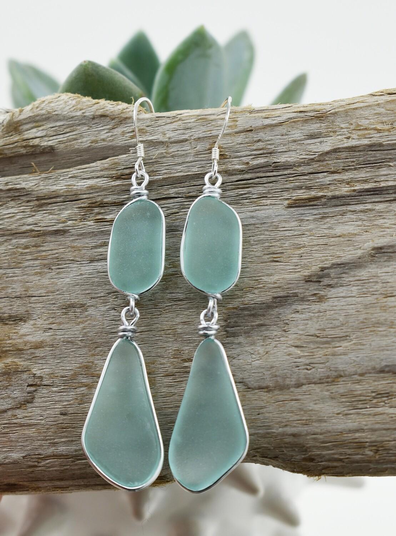Linear Silver Bezel Seaglass Earrings