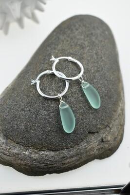 Sterling Silver and Seaglass Hoop Earrings